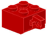 %30389b ヒンジブロック[赤]2x2(ロック、指1本、軸穴有)