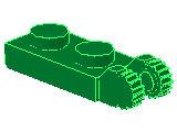 %44302 ヒンジプレート[緑]1x2(ロック、端に指2本)