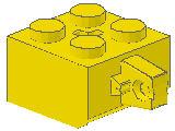 %30389b ヒンジブロック[黄]2x2(ロック、指1本、軸穴有)