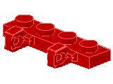 %44568 ヒンジプレート[赤]1x4(ロック、指2本)