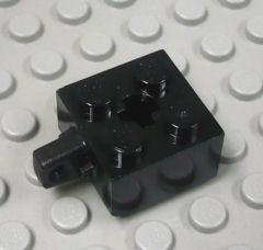 %30389c ヒンジブロック[黒]2x2(ロック、指1本、軸穴有)