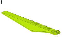 %57906 傾斜付プレート[黄緑]1x12(ロック、末端に指2本)