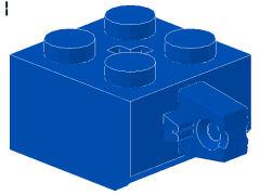 %30389c ヒンジブロック[青]2x2(ロック、指1本、軸穴有)