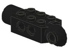 %47432 関節ブロック[黒]2x3(ロック、片側面&横向きソケット)