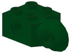 %48171 関節ブロック[濃緑]2x2(ロック、横向きソケット)