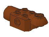 %47452 関節ブロック[新茶]2x2(ロック、片側面&下向きソケット)
