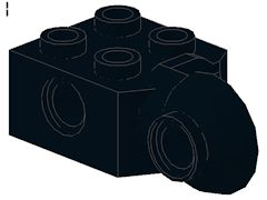 %48171 関節ブロック[黒]2x2(ロック、横向きソケット)