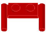 %3839b プレート[赤]1x2(取っ手x2)