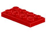 %3709B プレート[赤](穴開き)2x4