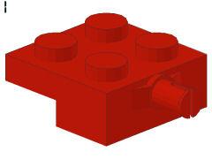 %4488 プレート[赤]2x2車輪(小径軸)片側ホルダ