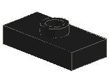%3794 プレート[黒]1x2(中央ポッチ)