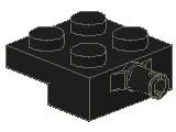 %4488 プレート[黒]2x2車輪(小径軸)片側ホルダ