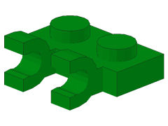 %60470 プレート[緑]1x2(水平クリップ2個)