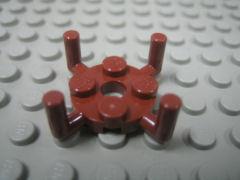 %98284 プレート円[新茶]2x2(ペグ穴、垂直アーム4個)