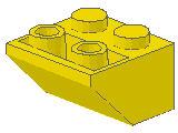 %3660 逆スロープ45度[黄]2x2(斜面:粒小)