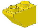 %3665 逆スロープ45度[黄]2x1(斜面:粒小)