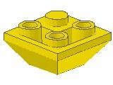 %3676 逆スロープ45度[黄]2x2(隣合う2方向傾斜、斜面:粒大)