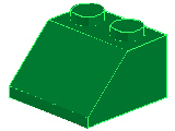 %3039 スロープ45度[緑]2x2(斜面:粒大)