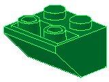 %3660 逆スロープ45度[緑]2x2(斜面:粒大)