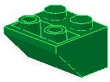 %3660 逆スロープ45度[緑]2x2(斜面:粒小)