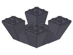 %30373 逆スロープ65度[新濃灰]6x6x2(4方向傾斜、斜面:粒大)