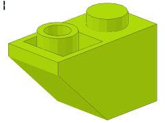 %3665 逆スロープ45度[黄緑]2x1(斜面:粒大)