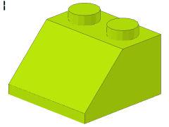 %3039 スロープ45度[黄緑]2x2(斜面:粒大)