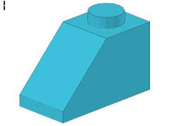 %3040 スロープ45度[アズール青]2x1(斜面:粒大)