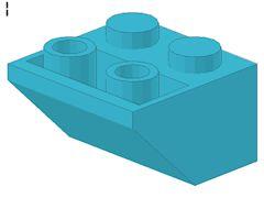 %3660 逆スロープ45度[アズール青]2x2(斜面:粒大)
