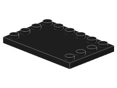 %6180 タイル[黒]4x6(端にポッチ)