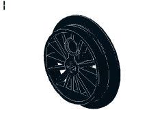 %85489b トレイン車輪[黒](軸穴、30mm、フランジ有)