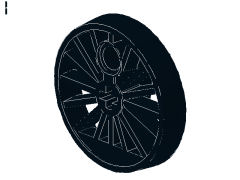 %85489a トレイン車輪[黒](軸穴、30mm、フランジ無)