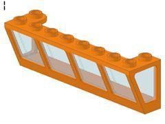 %89648 窓[オレンジ]2x8x2(ガラス[透明水色]、逆スロープ)