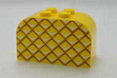 %4744 ブロック[黄]2x4x2(パイナップル、両側カーブ)