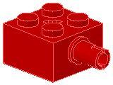 %6232 ブロック[赤]2x2(軸穴、横にペグ)