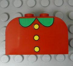 %4744 ブロック[赤]2x4x2(両側カーブ、子供服)