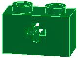 %32064 ビーム[緑]1x2(軸穴)