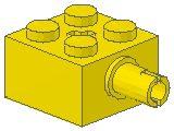 %6232 ブロック[黄]2x2(軸穴、横にペグ)