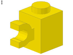 %60476 ブロック[黄]1x1(水平クリップ)