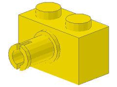 %2458 ブロック[黄]1x2(横にペグ)
