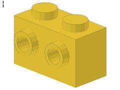 %11211 ブロック[黄]1x2(片側面にポッチ2個)