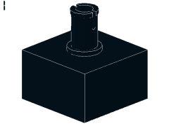 %4729 ブロック[黒]2x2(上部にペグ)