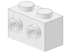 %52107 ブロック[白]1x2(両側面にポッチ)