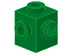 %4733 ブロック[緑]1x1(4方向ポッチ)