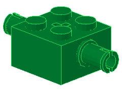 %30000 ブロック[緑]2x2(軸穴、両側にペグ)
