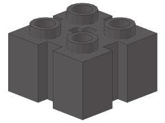 %90258 ブロック[新濃灰]2x2(4方向縦溝)