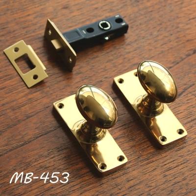 MB-453 真鍮ドアノブ(玉子型+長座)+空錠 MB-453