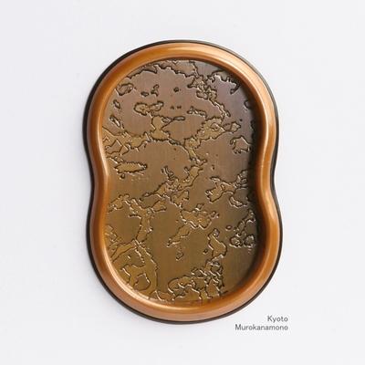 襖引手 素銅宣徳槌目まゆ形