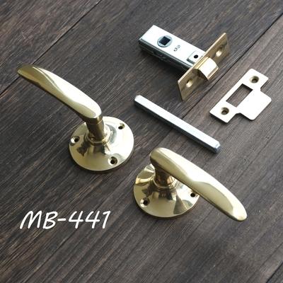 MB-441 真鍮ドアレバーハンドル 丸座+空錠 磨き MB-441