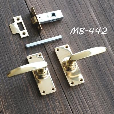 MB-442 真鍮ドアレバーハンドル 角長座+空錠 磨き MB-442